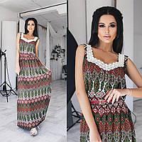 """Стильное женское платье в пол ткань """"штапель"""" на подкладке р 46, 48 размер батал"""