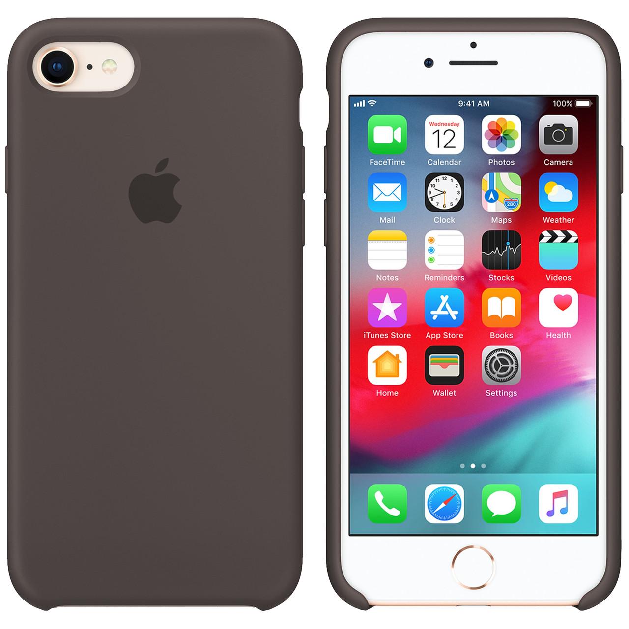 Силиконовый чехол для Apple iPhone 7 / 8 Silicone case (Коричневый)