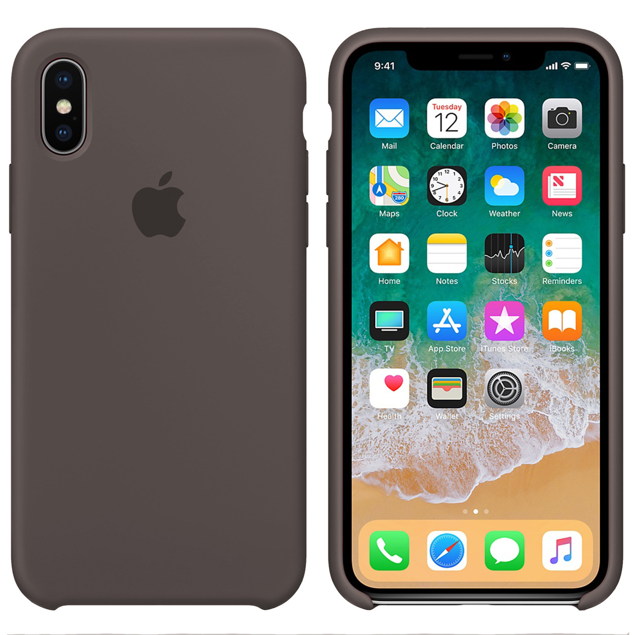 Силиконовый чехол для Apple iPhone X / XS Silicone case (Коричневый)