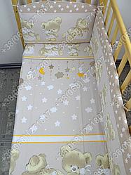 """Детское постельное белье в кроватку """"Карапуз"""" комплект 7 ед. Мишка подушка бежевый"""