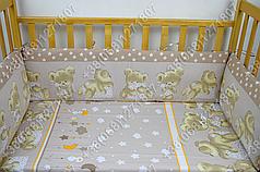 """Детское постельное белье в кроватку """"Карапуз"""" комплект 6 ед. Мишка подушка бежевый"""