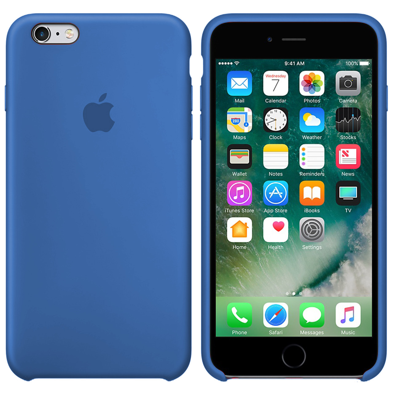 Силиконовый чехол для Apple iPhone 6 Plus / 6S Plus Silicone case (Лазурно-синий)