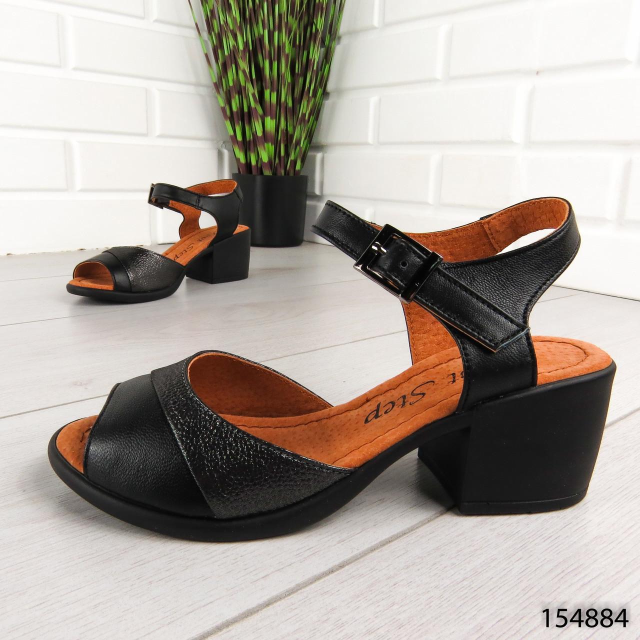 """Босоножки женские, черные """"Liuter"""" НАТУРАЛЬНАЯ КОЖА, сабо женские, открытые туфли женские"""