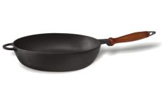 Сковорода чугунная (сотейник)  с деревянной ручкой, d=200мм, h=54мм