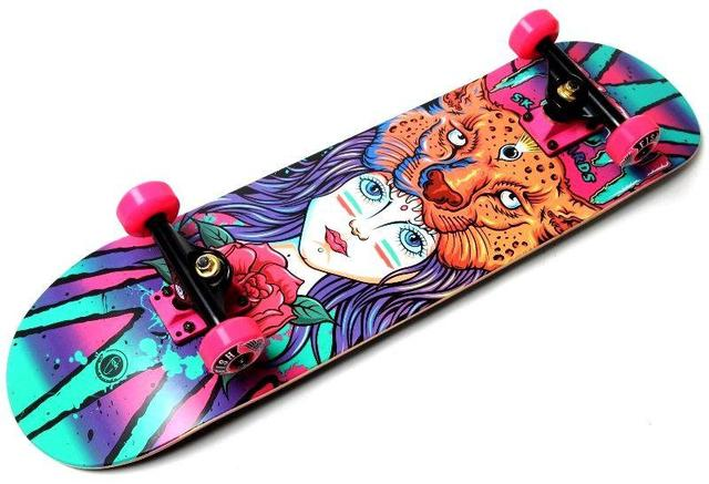 "СкейтБорд деревянный от Fish Skateboard ""Девочка Тигр"""