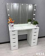 Двухтумбовый визажный стол с зеркалом без рамы. Модель V434 белый, фото 1