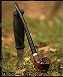 Курительная трубка ручной работы KAF218 Churchwarden на длином мундштуке из дерева груши прямоток, фото 7