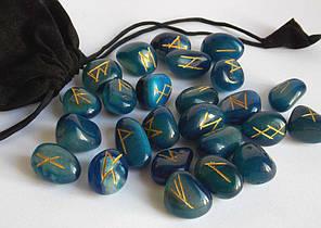 Руны каменные голубой оникс