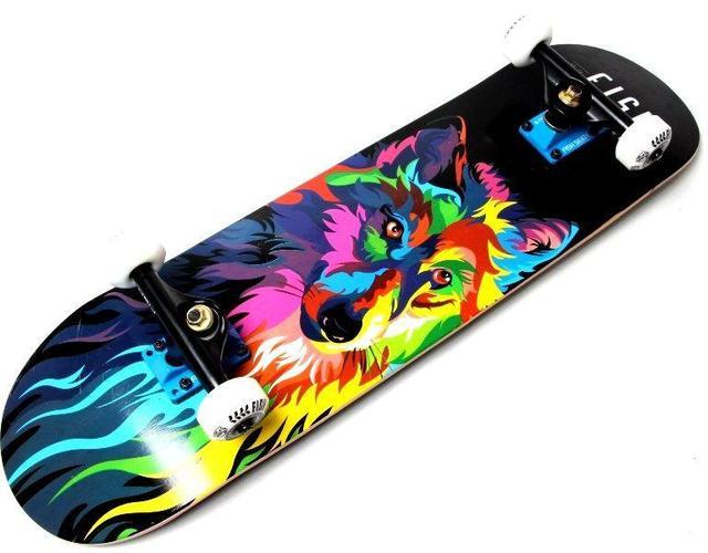 СкейтБорд деревянный Fish Skateboard Волк