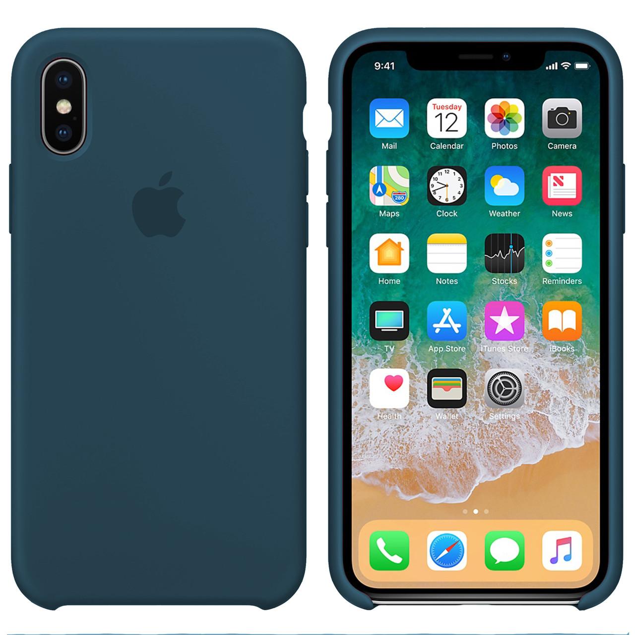 Силиконовый чехол для Apple iPhone XS Max Silicone case (Форест Грин)