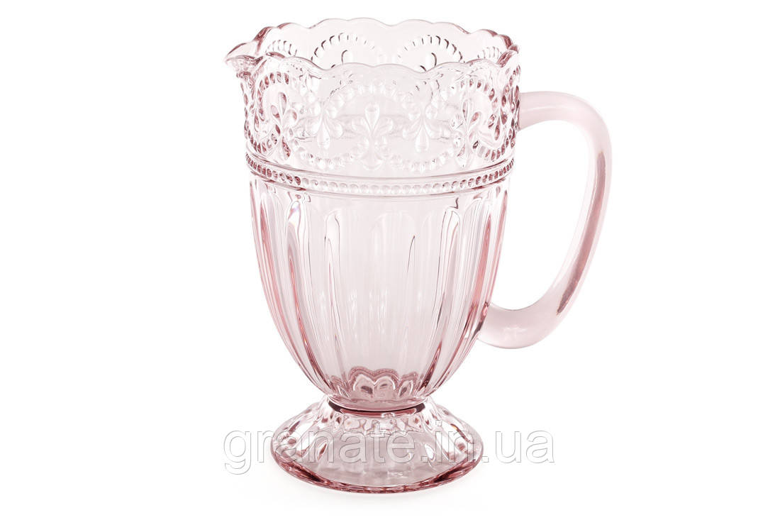 Стеклянный кувшин 1.35 л, цвет: розовый