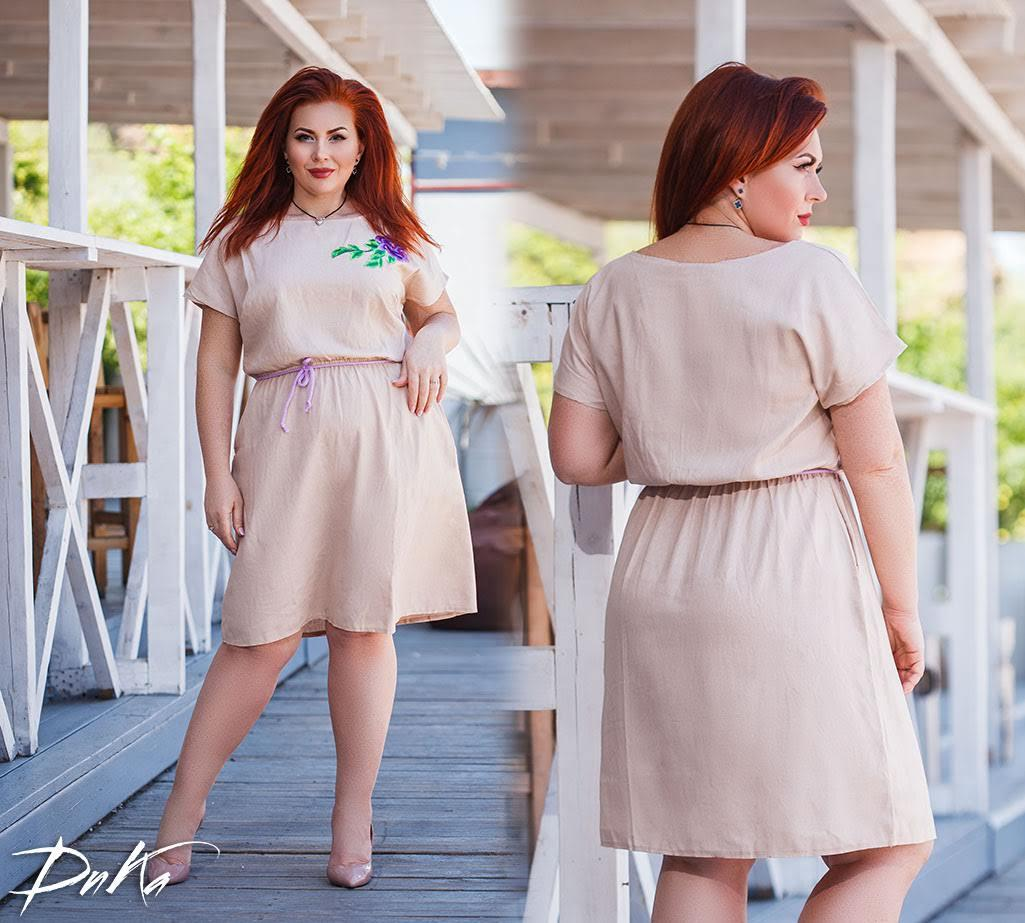 Женское платье льняное летний сарафан свободного фасона размер:42-4,46-48,50-52,54-56
