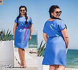 Женское платье льняное летний сарафан свободного фасона размер:42-4,46-48,50-52,54-56, фото 3