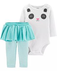 """Набор для маленькой девочки Carter's (США) """"Пандочка"""" Бодик белый на длинный рукав + штанишки-юбочка 24 мес/83"""
