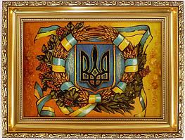 Картина с янтаря Герб Украины 40х30 см
