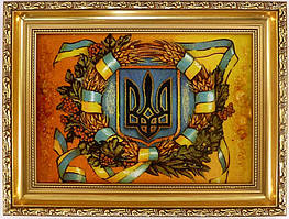 Картина з бурштину Герб України 40х30 см