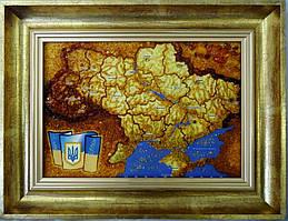 Картина з бурштину Карта України 30х20 см