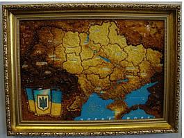 Картина з бурштину Карта України 40х30 см