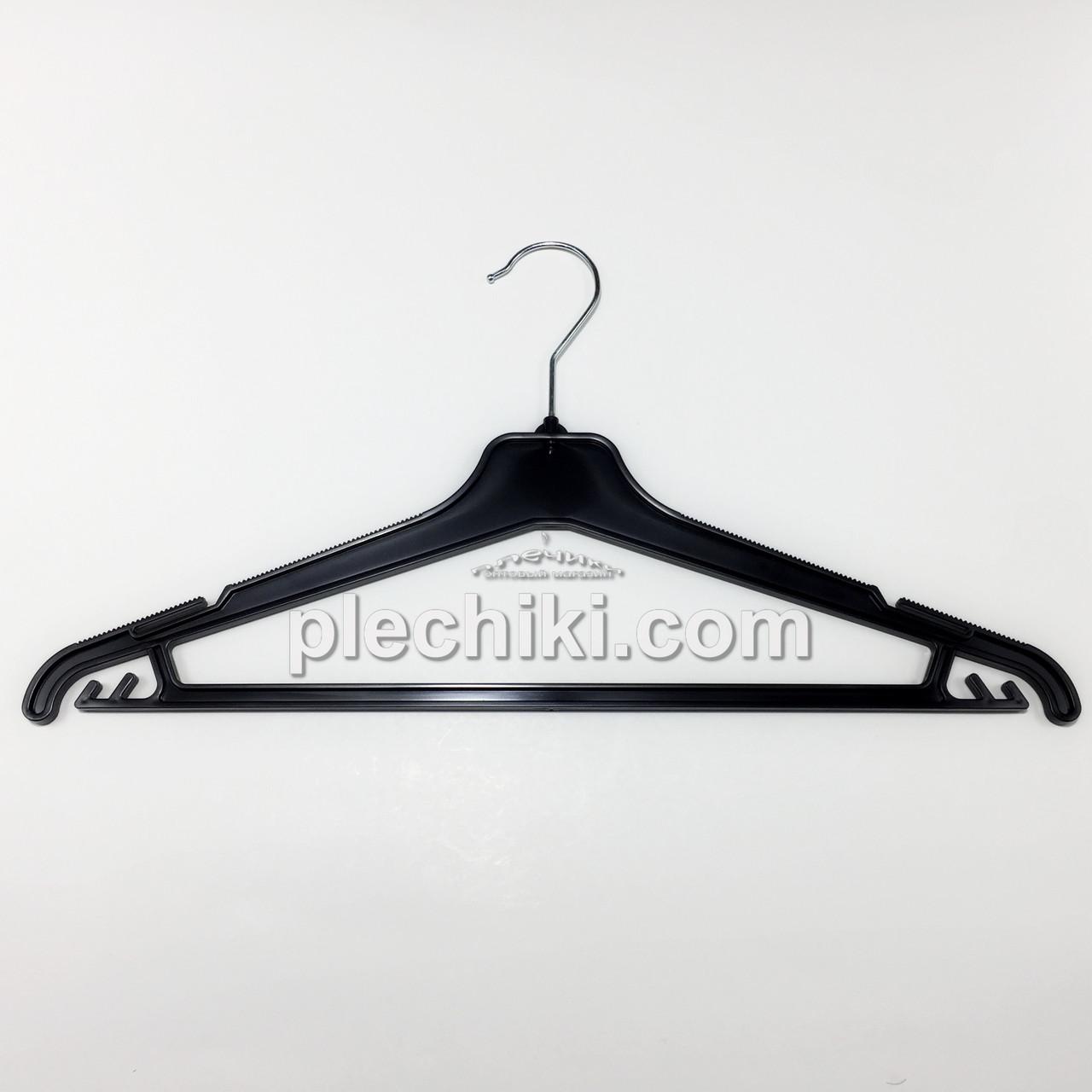 Тремпеля вешалки для одежды пластиковые W-PY42 черного цвета, длина 420 мм