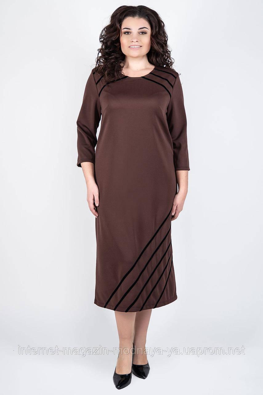 """Платье женское большие размеры """"Камелия"""" р. 52-60 шоколад"""