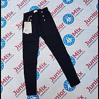Подростковые котоновые стрейчевые брюки для девочек синего цвета GRACE