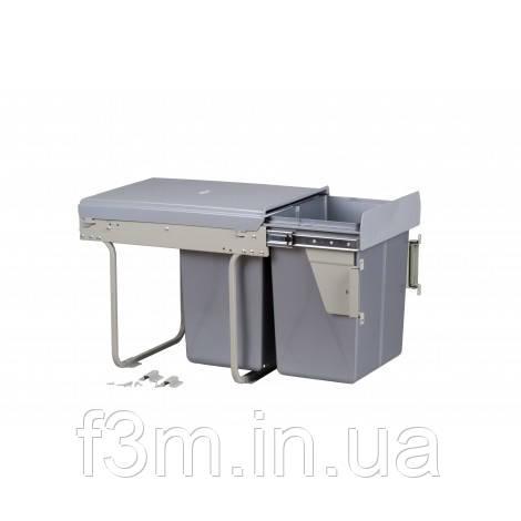 Система для отходов MOVIMENTO:2 ВЕДРА×20 Л на направляющих полного выдвижения с доводчиком