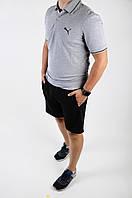 Футболка поло мужская летняя Puma серая стильная модная, фото 1