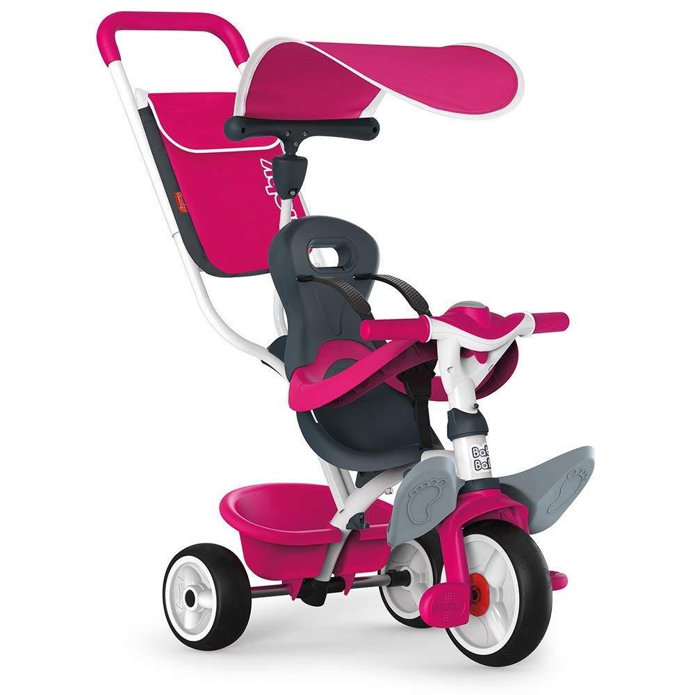 Велосипед детский Беби Балад металлический с козырьком багажником сумкой розовый Baby Balade Smoby