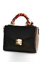 Жіночий портфель з хустинкою/женский портфель с платком в 4-х кольорах. Чорний.