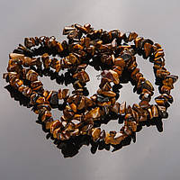 """Намистини натуральний камінь на нитці Тигрове око 5-8мм """"кам'яна крихта"""" L-85"""