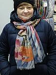 Палантин шерстяной 10263-1, павлопосадский шарф-палантин шерстяной (разреженная шерсть) с осыпкой, фото 8