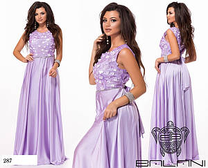 Платье длинное вечернее закрытое сетка с вышивкой+шёлк 42-46