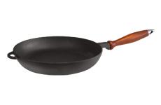 Сковорода чугунная  с деревянной ручкой, d=260мм, h=40мм