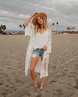 Летняя пляжная накидка из сеточки белая опт, фото 1
