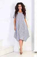Женское стильное летнее платье в полоску №3012 (р.48-62) 2, фото 1