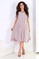 Женское стильное летнее платье в полоску №3012 (р.48-62) 3, фото 1