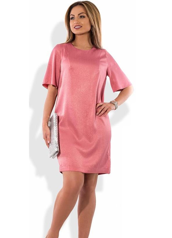 Модное коралловое женское платье размеры от XL ПБ-305
