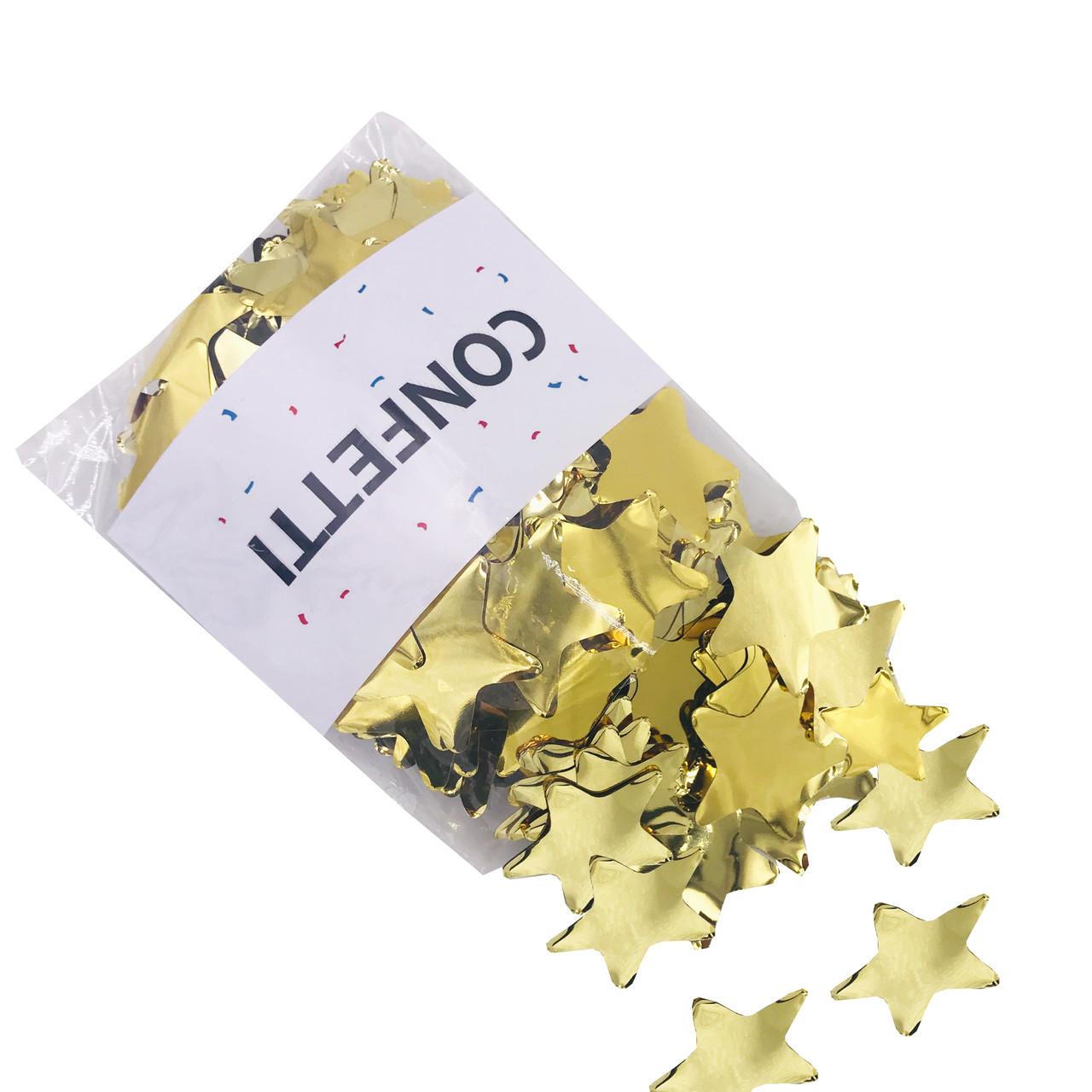 Конфетті зірочки фольговані золоті 50 г