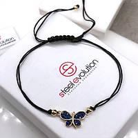 Фенечка Метелик з чорної шовкової нитки 118339