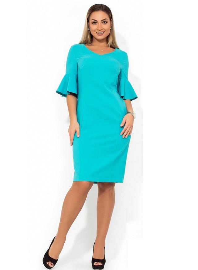 Красивое женское платье миди голубое размеры от XL ПБ-419