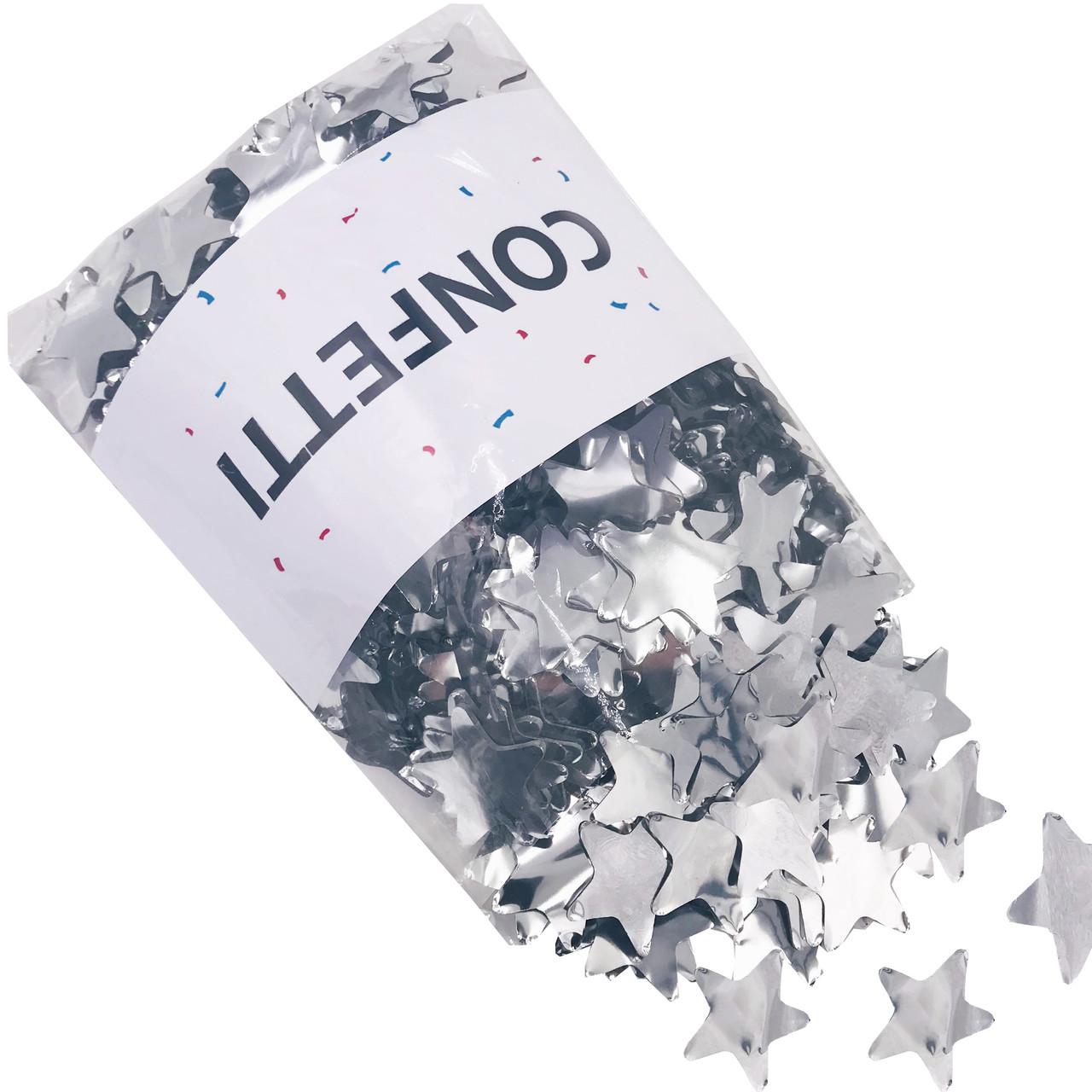 Конфетти Звездочки фольгированные серебро 250 г