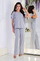 Женский стильный летний костюм в полоску #4003 (р.48-56) синий, фото 1