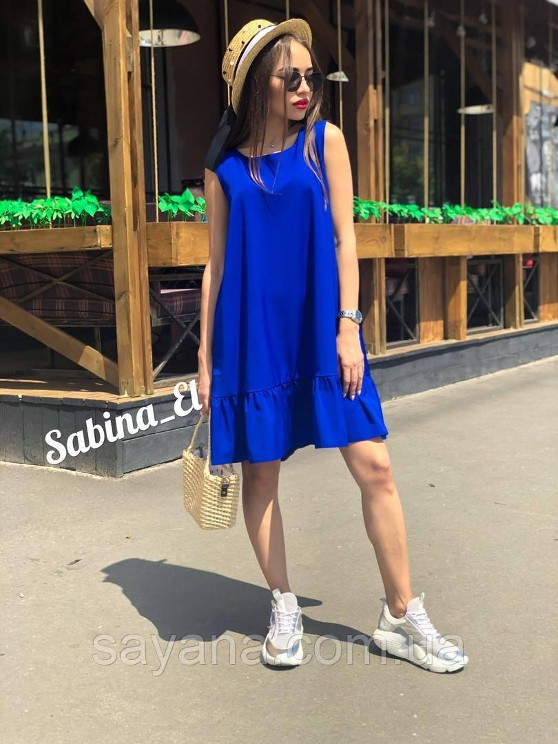 Летнее свободное платье с воланом в расцветках. ЕЛ-2-0619