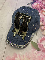 Бейсболка подростковая джинсовая с нашивкой «Котики» из пайеток | р. 54-55 см