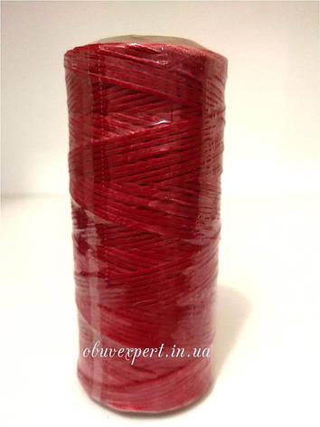 Нитка вощёная по коже (плоский шнур), т. 0,8 мм, 100 м, цв.красный, фото 2