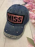 Бейсболка подростковая джинсовая с нашивкой «MISS» из пайеток | р. 54-55 см