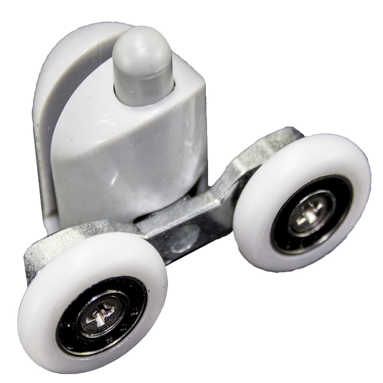Ролик душової кабіни подвійний, нижній, натискної, сірий ( В-43 Д ) 28 мм