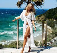 Белая женская пляжная накидка с кружевами опт