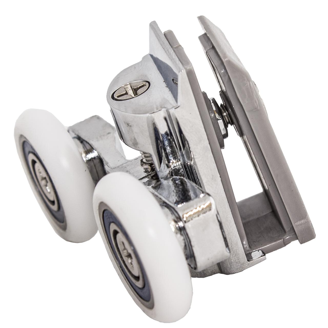 Ролик душевой кабины металлический, двойной, поворотный, нажимной  ( К-61 В )