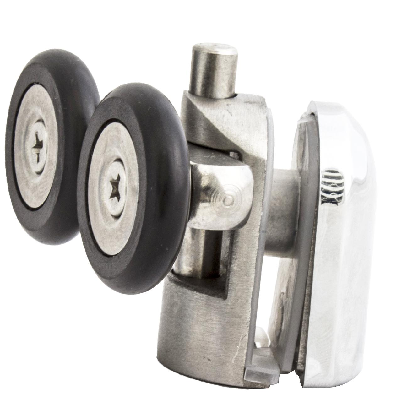 Ролик душової кабіни подвійний, нижній, натискної, металевий, нержавійка ( N-43H ) 23 мм